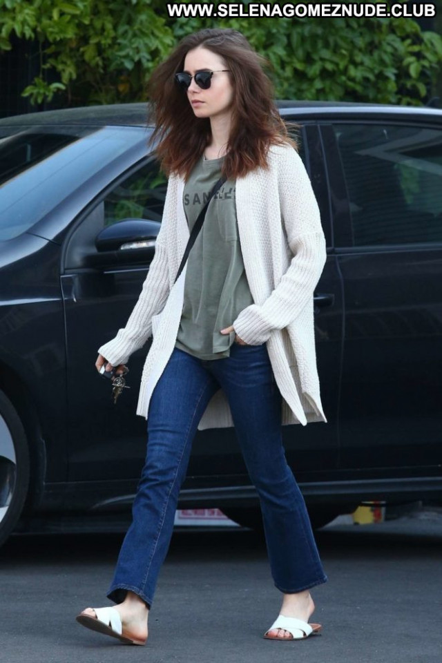 Lily Collins No Source  Babe Posing Hot Celebrity Jeans Beautiful