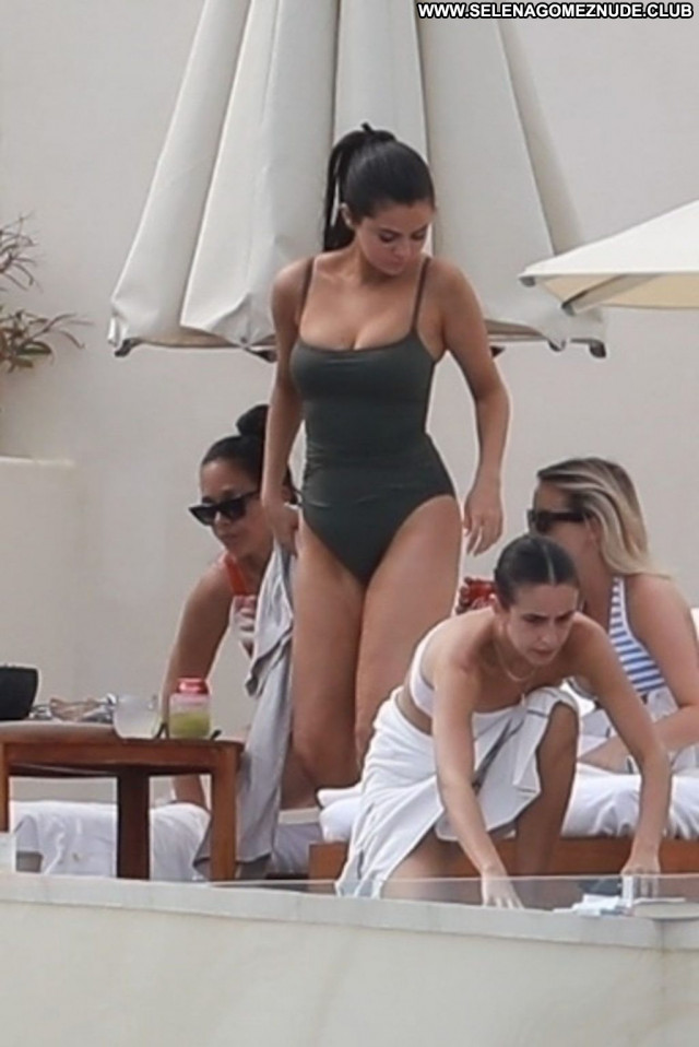 Selena Gomez No Source Posing Hot Swimsuit Beautiful Celebrity Black