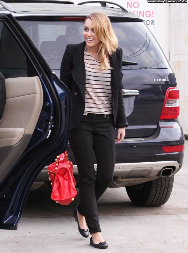 Miley Cyrus No Source Posing Hot Pants Celebrity Paparazzi Black